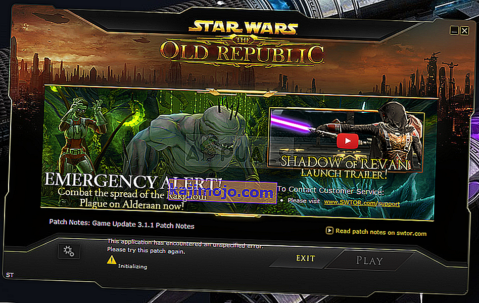 "SWTOR ""This application has encountered an unspecified error"""