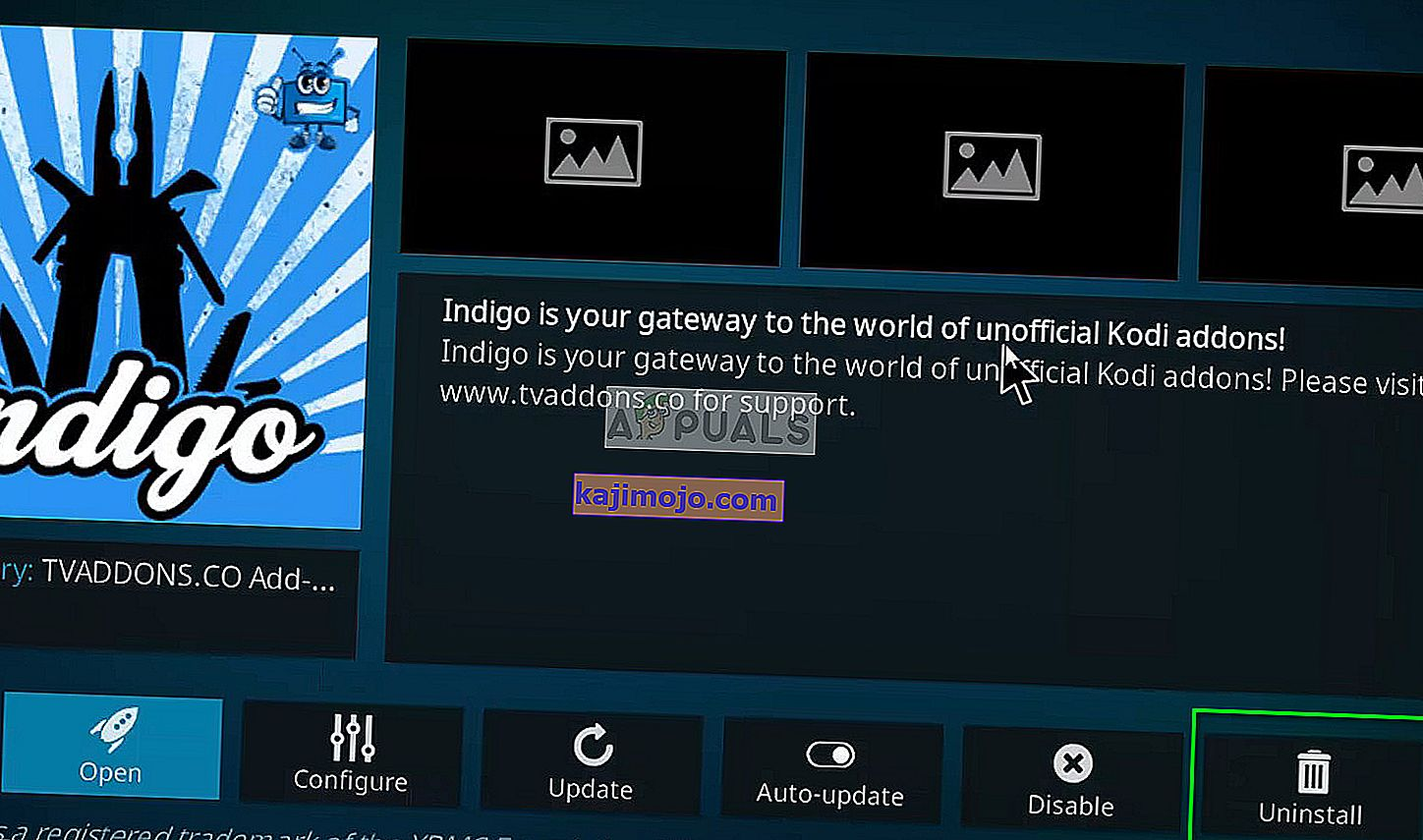 Uninstall option for add-on Indigo on Kodi