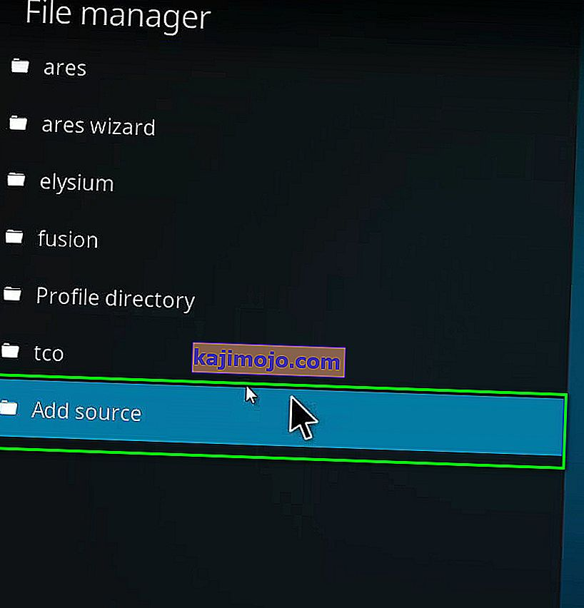 Add source option in Kodi File manager